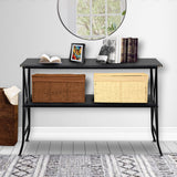 Artisasset Black MDF Countertop Black Wrought Iron Base 2 Layers Console Table | 85452539