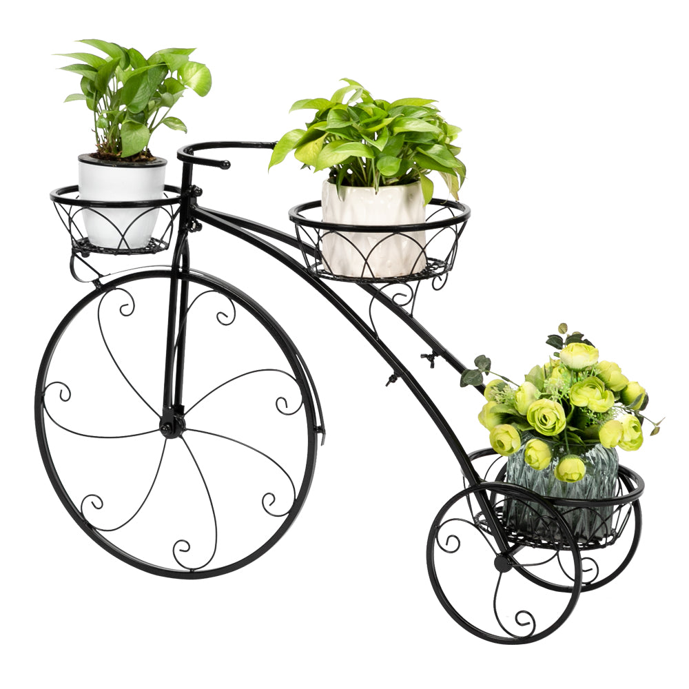 Artisasset Paint Bicycle Shape 3 Plant Stand Black | 38691495