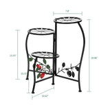 Artisasset Paint Painted Blade Shape 3 Blocks Plant Stand Black | 88810544