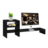 Wood Computer Monitor Stand Raiser with 3 Tier Desktop Organizer Storage Shelf and PC Screen TV Riser for Home Office | 27545337