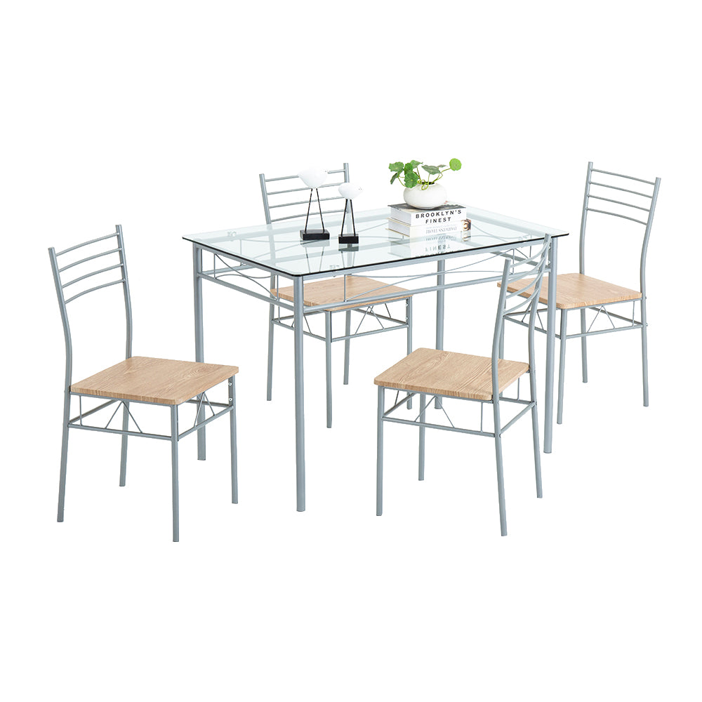 [110 x 70 x 76cm] Iron Glass Dining Table and Chairs Silver One Table and Four Chairs MDF Cushion | 95820991