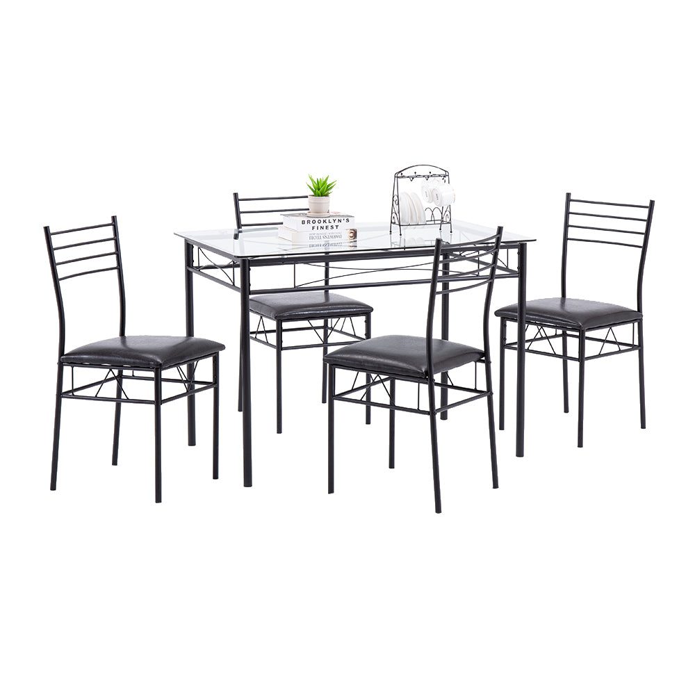 [110 x 70 x 76cm] Iron Glass Dining Table and Chairs Black One Table and Four Chairs PU Cushion | 36919194