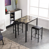 [90 x 60 x 82] cm Marble Face High Dining Table and Chair Cushion Black 3 Piece Set 1 Table 2 Chairs | 74642617