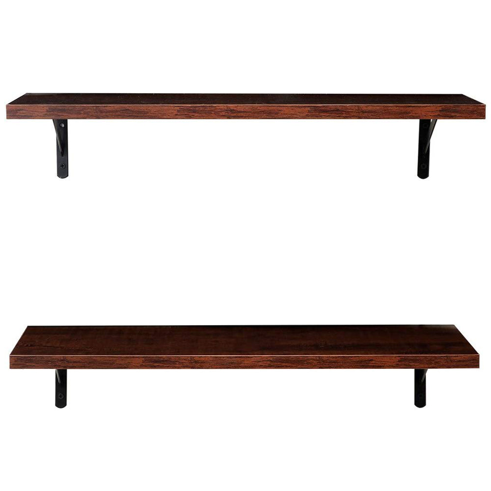 2 Display Ledge Shelf Floating Shelves Wall Mounted with Bracket for Pictures and Frames Modern Home Decorative Brown | 74219865