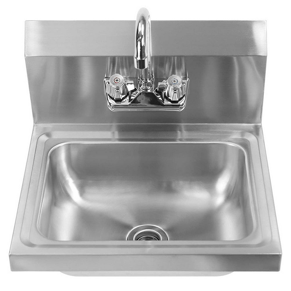 "17"" Commercial Stainless Steel Wall Mount Kitchen Hand Sink with Faucet Silver 