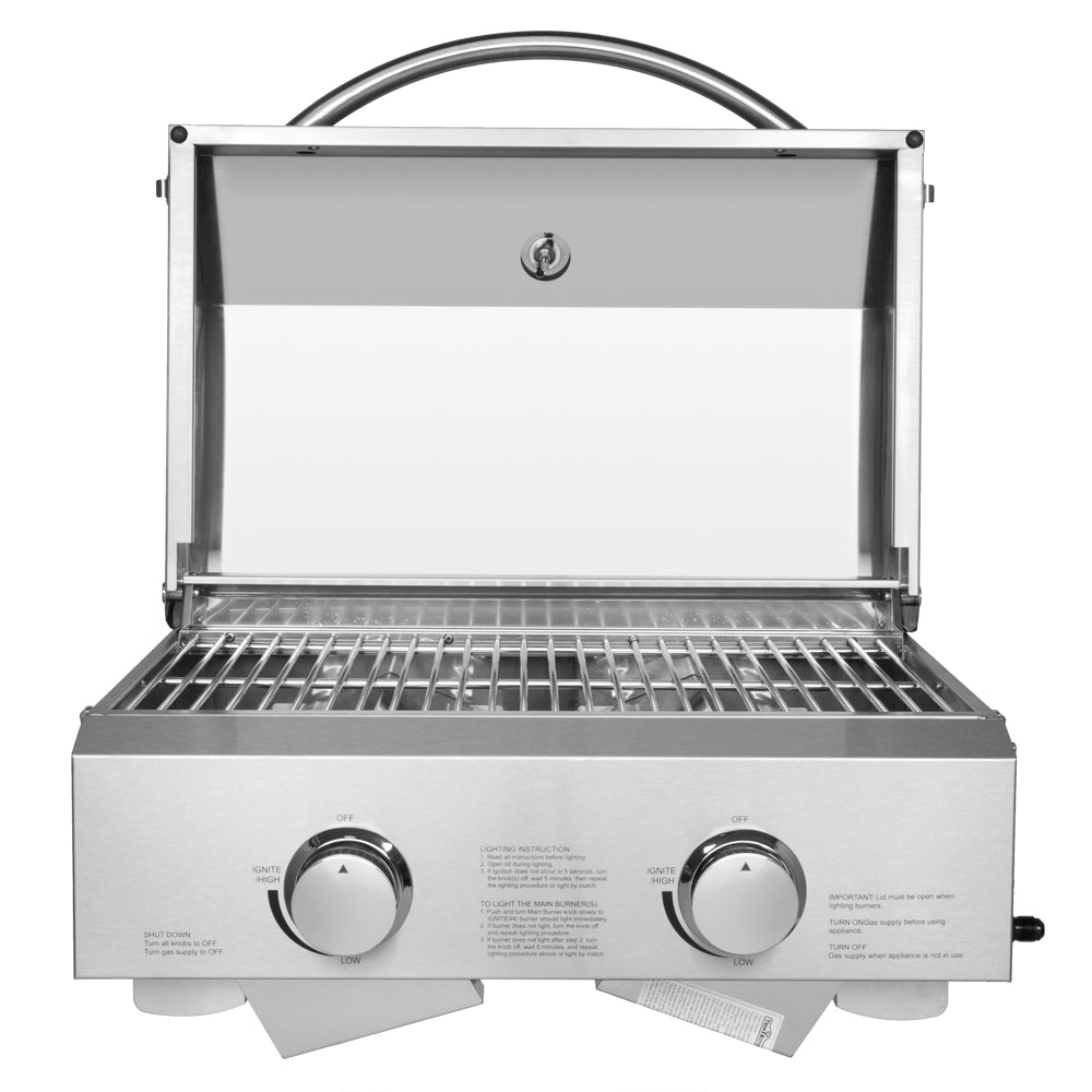 Tabletop Stainless Steel 2-Burner Gas Grill Portable 2000 BTU BBQ Grid with Foldable Legs for Outdoor Camping Picnic | 66275391