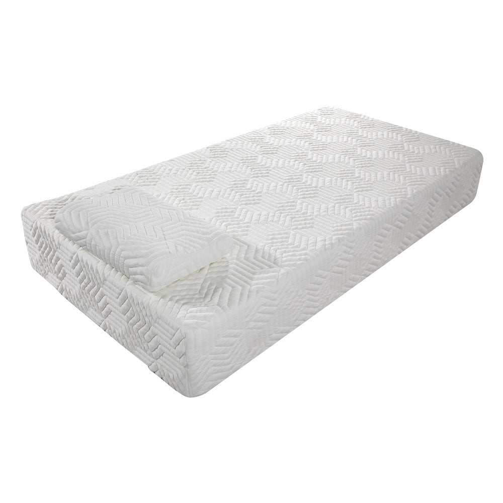 "10"" Two Layers Traditional Firm High Softness Cotton Mattress with 2 Pillows (Twin Size) White 