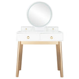 Bedroom Light Luxury Real Wood Dressing Table Simple Makeup Table With Lamp Three Color Adjustable | 01783649