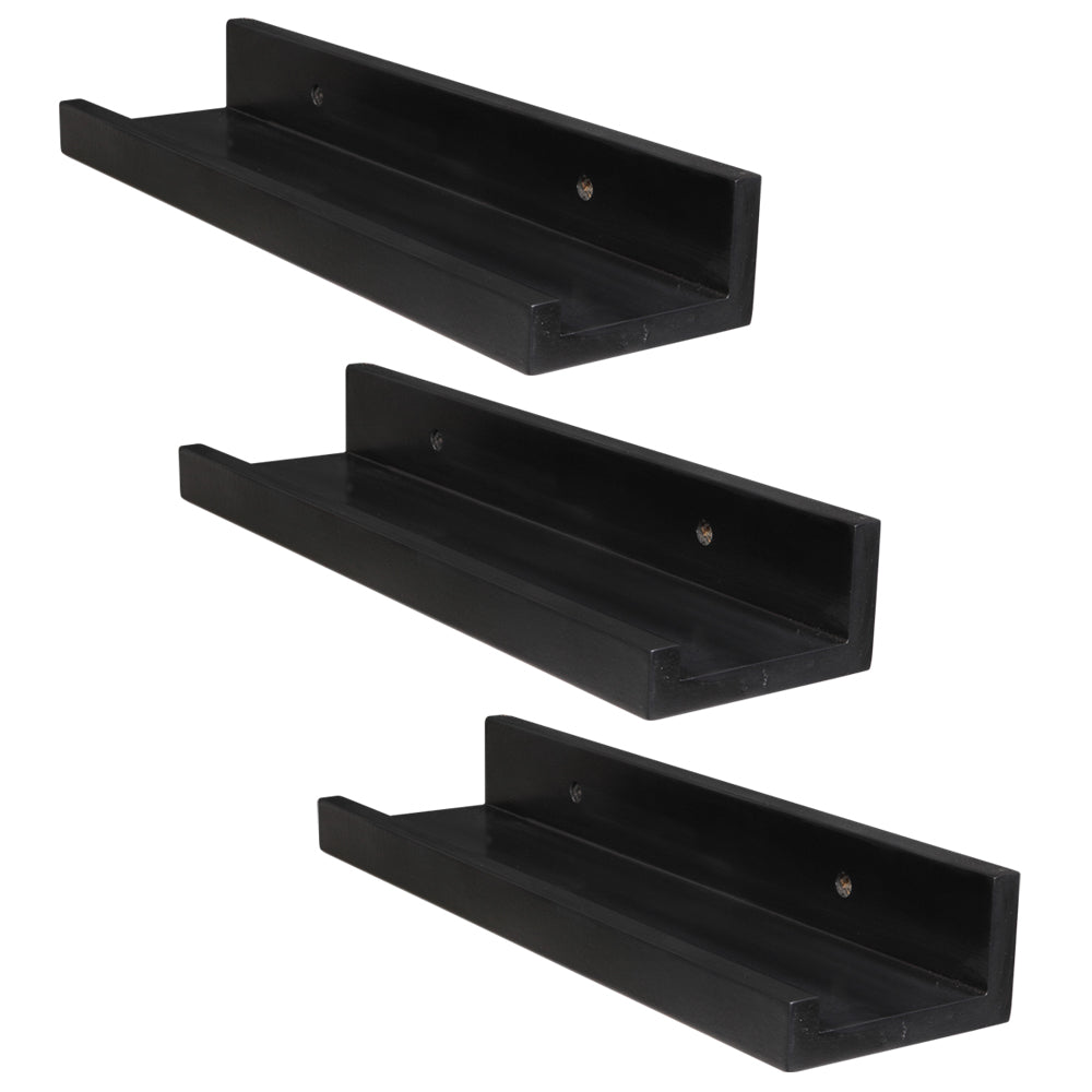 Set of 3 14-inch Floating Wall Shelves by Black | 53011490