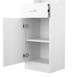 Standing 5 Compartments 1 Drawer 1 Door MDF Barber Cabinet White | 84312307