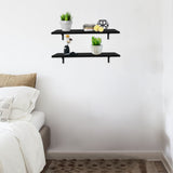 2 Display Ledge Shelf Floating Shelves Wall Mounted with Bracket for Pictures and Frames Modern Home Decorative Black | 88477089