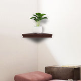 Set of 2 Floating Corner Wall Shelf Home Decor Furniture Shelves Storage Modern Brown | 55686848