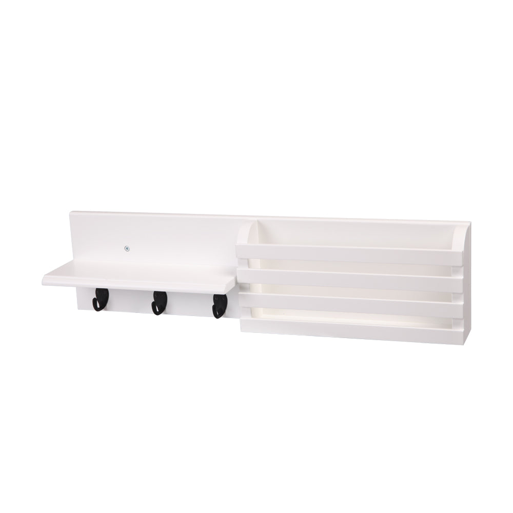 Wall Shelf and Mail Holder with 3 Hooks, 24-Inch by 6-Inch, White | 06784289