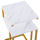 (42 x 35.5 x 71) cm C-Type Side Table Double-Layer Gold Marble Sticker | 28446127