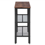 (101.5 x 35 x 80 cm) Industrial Style Three-Layer Cross Porch Table Two-Layer Iron Net Black Walnut Color | 59765226