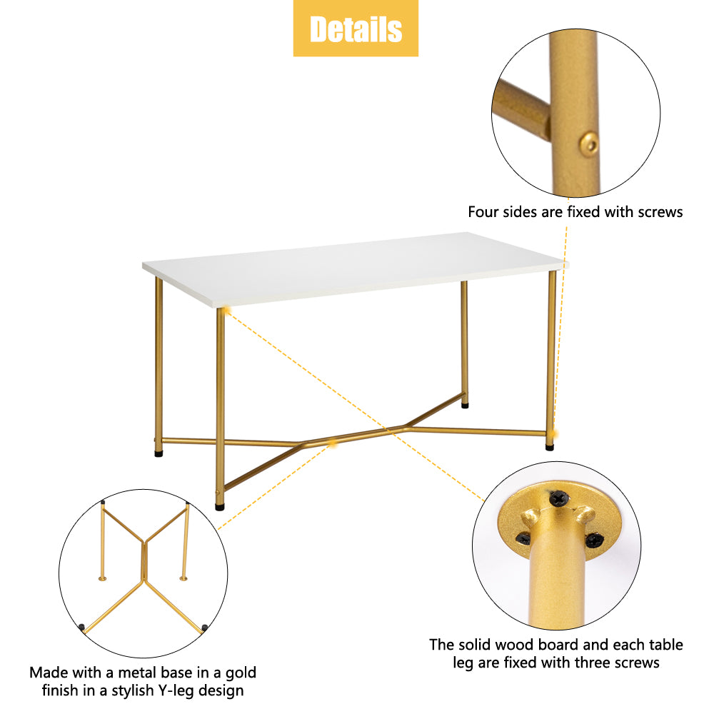Artisasset Single Layer 1.5cm Thick MDF White waterproof Square Tabletop Golden Table Legs Iron Coffee Table White | 20042845
