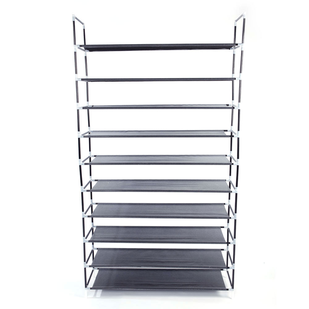 Simple Assembly 10 Tiers Non-woven Fabric Shoe Rack with Handle Black | 91256461