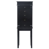 Standing Jewelry Armoire with Mirror, 5 Drawers & 8 Necklace Hooks, Jewelry Cabinet Chest with Top Storage Organizer , 2 Side Swing Doors(Black)  | 79737454