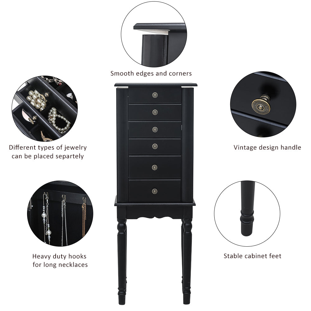 Standing Jewelry Armoire with Mirror, 5 Drawers & 8 Necklace Hooks, Jewelry Cabinet Chest with Top Storage Organizer , 2 Side Swing Doors(Black)  | 94155084