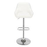 2 BJ221 Dustpan Chair Square Foot Bar Stool PU Fabric White | 23086667