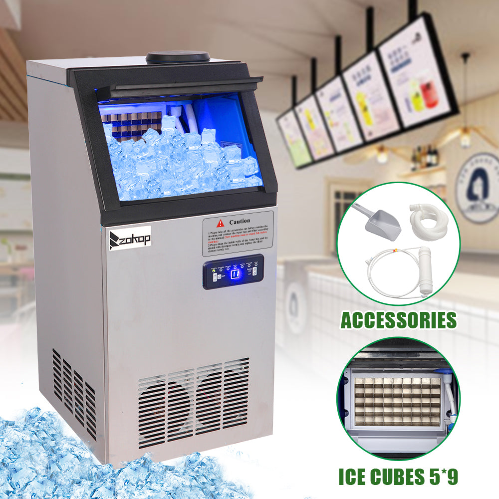 ZOKOP BY-90PF 495W 68KG / H 120V / 60HZ American Standard Stainless Steel Transparent Cover Commercial Ice Machine | 69162231