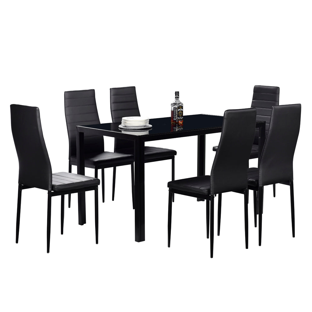 Simple Assembled Tempered Glass & Iron Dinner Table Black | 21491449