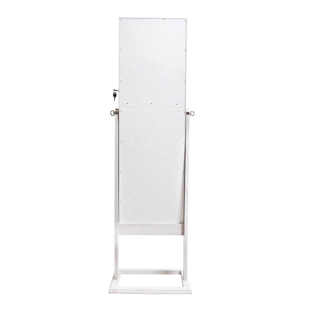 Archaize PVC Wood Grain Coating Upright Square Jewelry Storage Dressing Mirror Cabinet with LED Light White | 40853143
