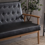 126 x 70 x 84cm Two-person Retro PU Leather Lounge Chair Light Black | 00536861