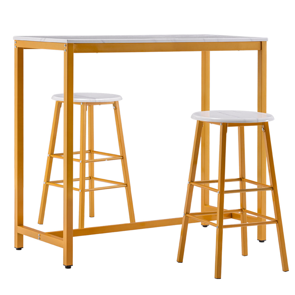 [107 x 47 x 92] cm PVC Marble Simple Bar Table Round Bar Stool Golden Paint (One Table and Two Stools) White | 52664805