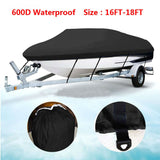 16-18ft 600D Oxford Fabric High Quality Waterproof Boat Cover with Storage Bag Black | 11859113