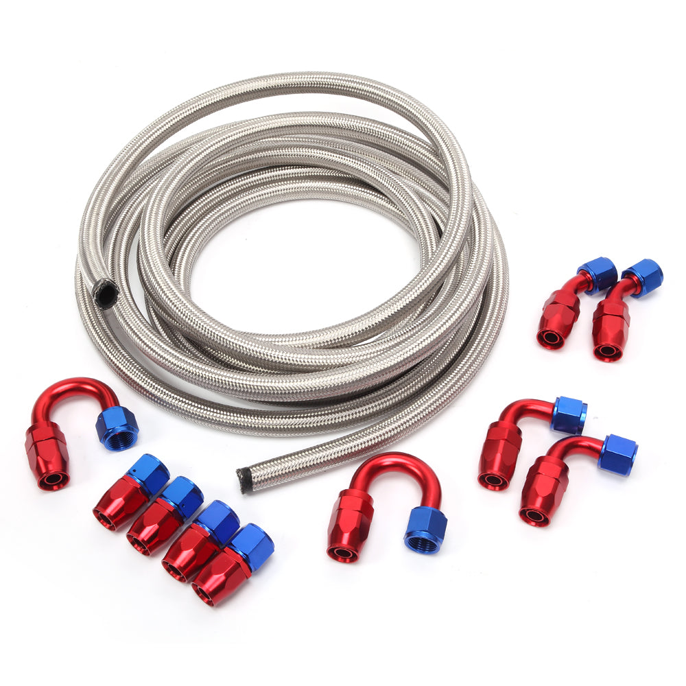 10AN 20-Foot Universal Silver Fuel Pipe 10 Red and Blue Connectors | 06177732
