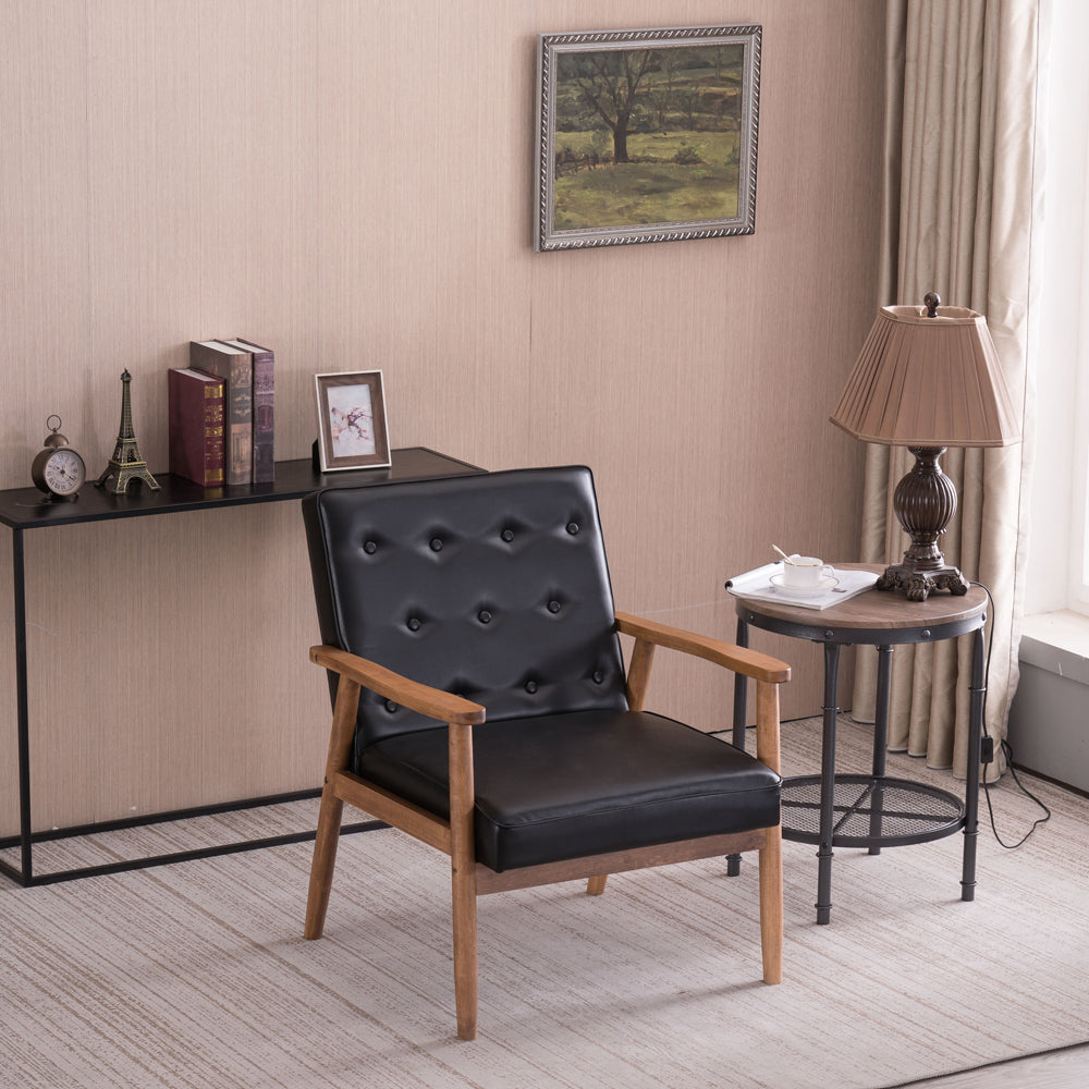 (75 x 69 x 84) cm Retro Modern Wooden Single Chair,Black PU | 30948990