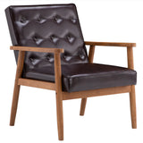 (75 x 69 x 84) cm Retro Modern Wooden Single Chair,Brown PU | 63780490