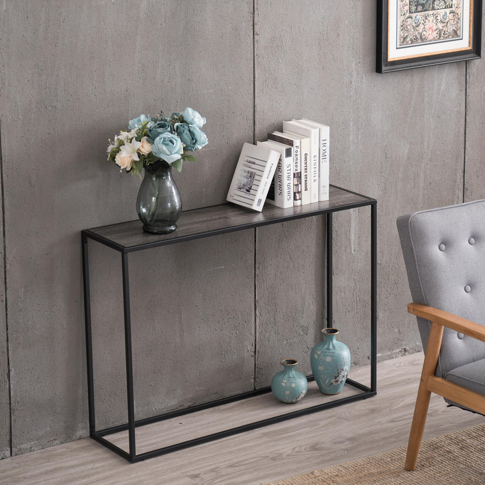 (106 x 28 x 76cm) Grey Wood Grain Simple Single Layer Console Table | 89678698