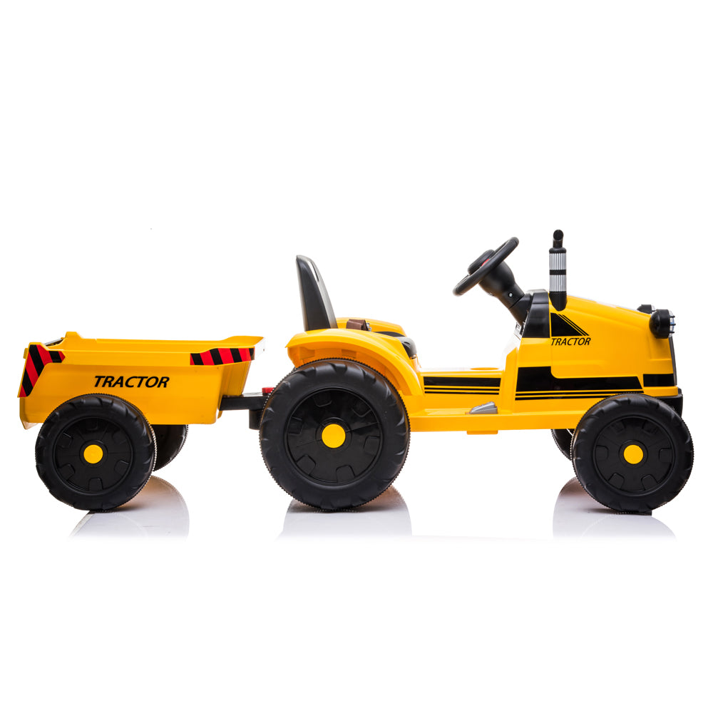 Toy Tractor with Trailer,3-Gear-Shift Ground Loader Ride On with LED Lights | 72437233