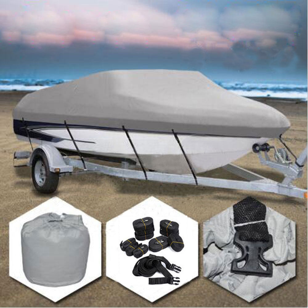 14-16ft 600D Oxford Fabric High Quality Waterproof Boat Cover with Storage Bag Gray | 90890403