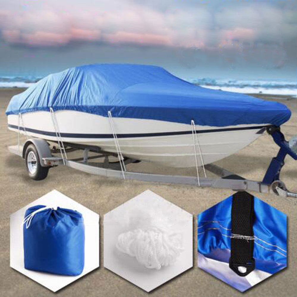 14-16ft 210D Oxford Fabric High Quality Waterproof Boat Cover with Storage Bag Blue | 08055321