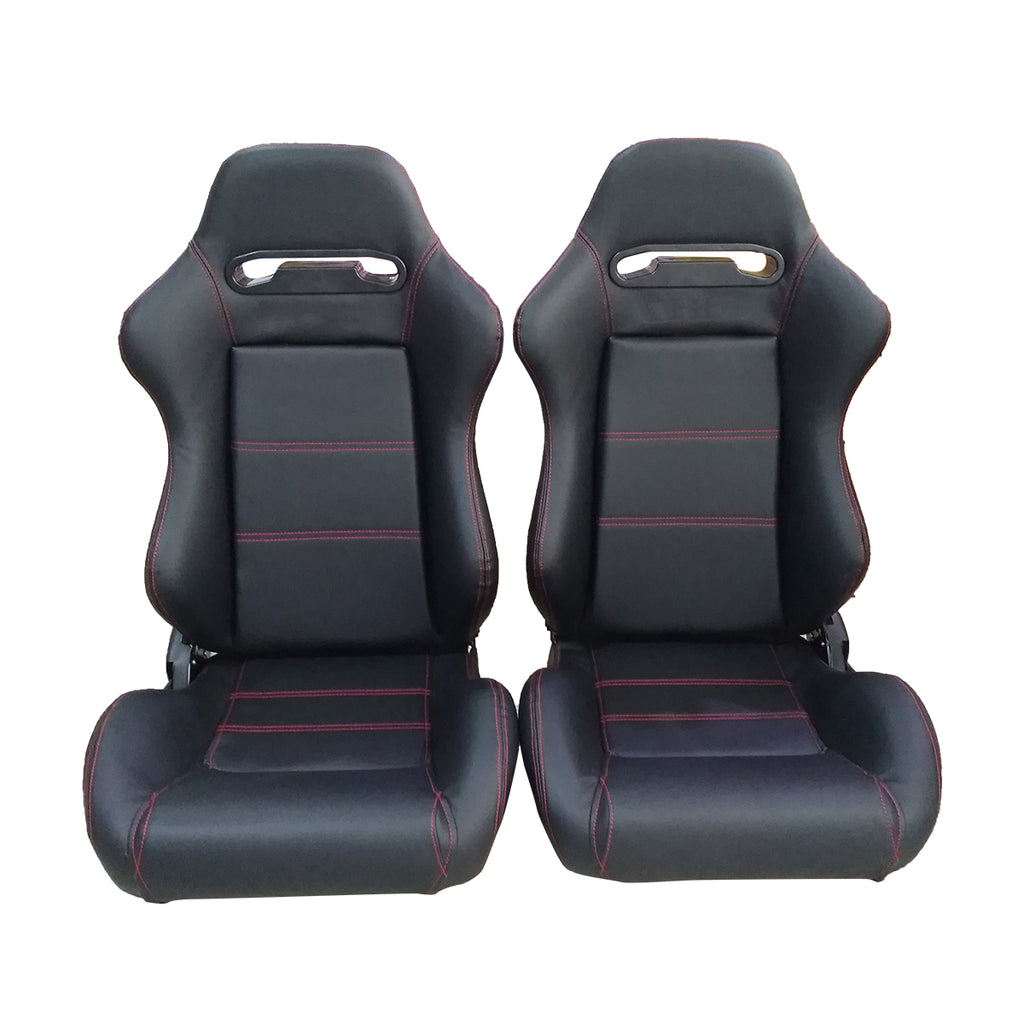 A Pair Of PVC Single Adjuster Double Track Racing Seat Red Thread Black | 13827453