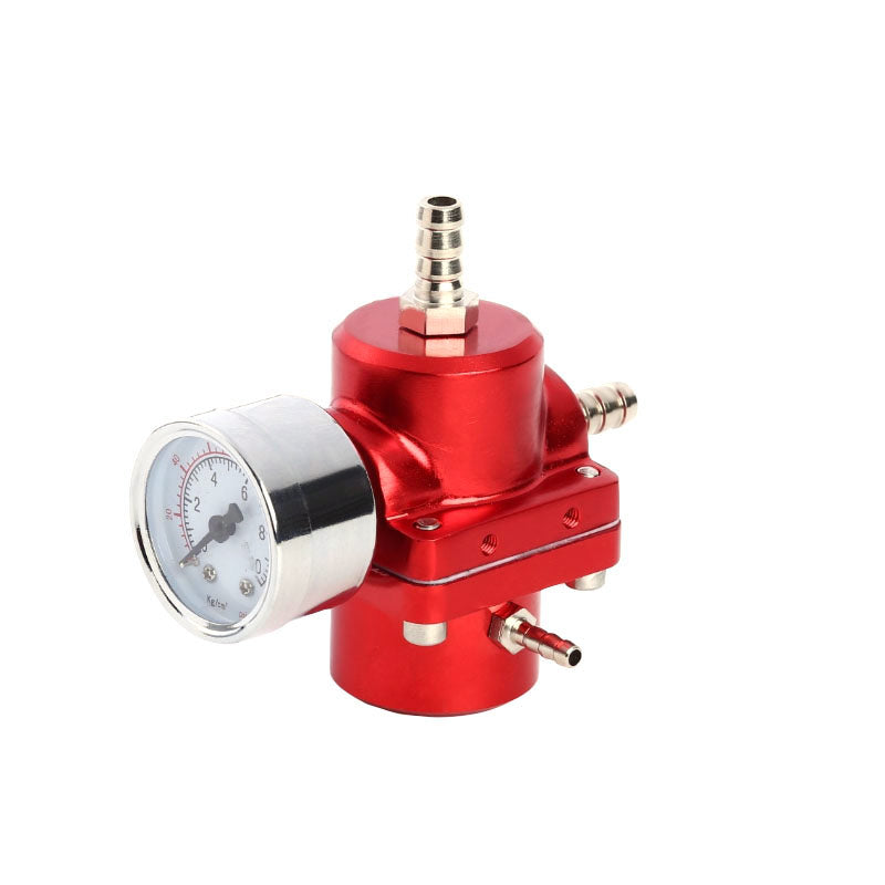 Universal Aluminum Alloy Fuel Pressure Regulating Valve + Pressure Gage + Hose Kit Red | 12617059