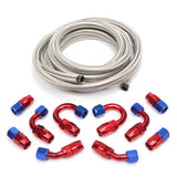 10AN 16-Foot Universal Silver Fuel Pipe 10 Red and Blue Connectors | 49073675