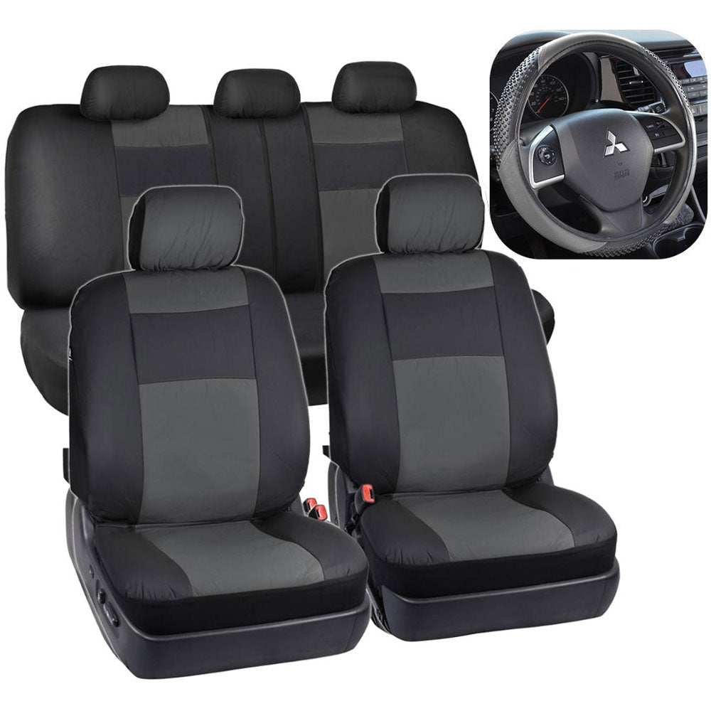 13-Piece Universal Four Seasons Auto Pillow Seat Covers Set for 5-Seat Cars Black  | 14955951