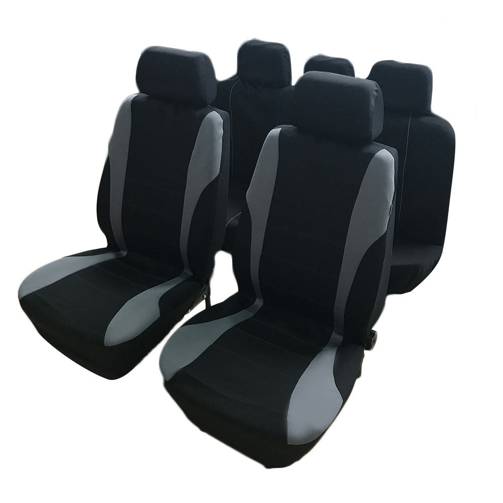 9pcs General Seasons 5 Seats Car Seat Covers Set Gray & Black  | 11400676