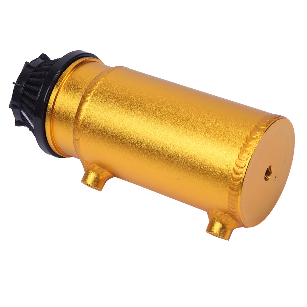 140mL Round Oil Catch Tank Double hole Oil Catch Tank with Air Filter Golden | 21316795