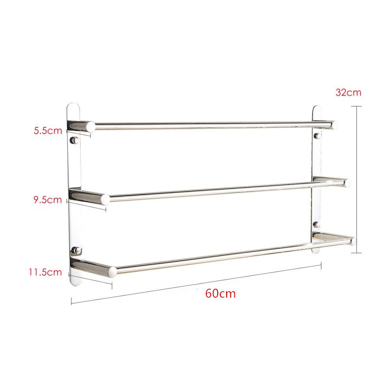 SUS304 Stainless Steel Hand Polishing Mirror Polished Finished Bathroom Accessories Set Towel Rack Three Towel Bars KJWY004-60CM | 08215060