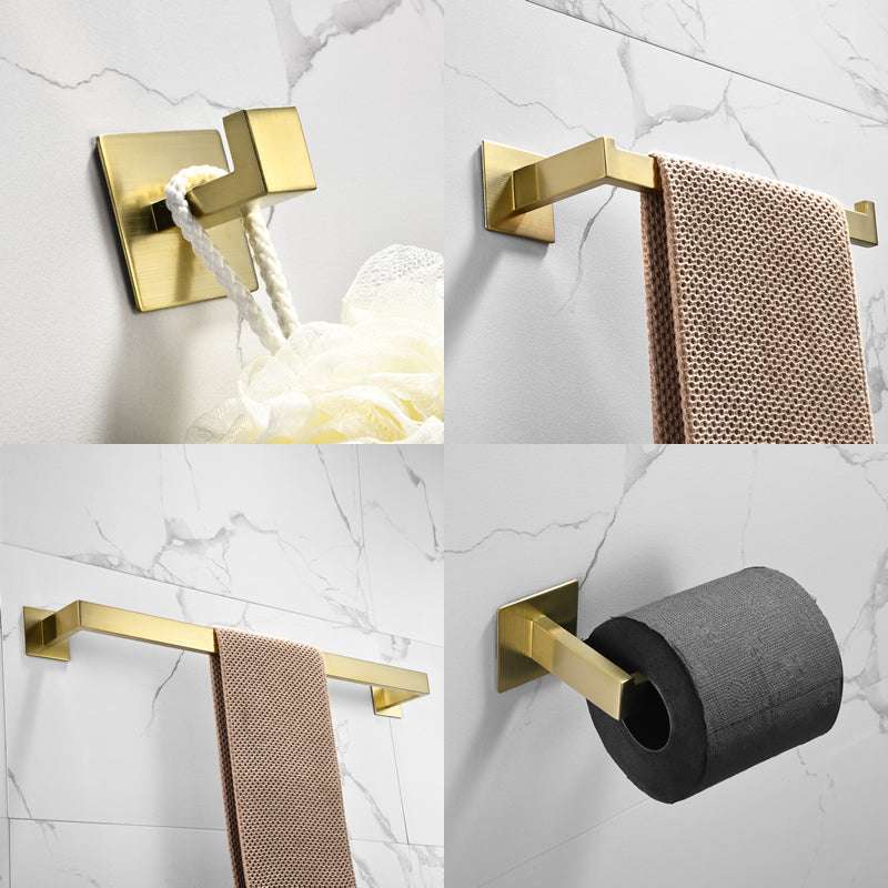 Strong Viscosity Adhesive Bathroom Accessories Set Without Drilling Brushed Gold Towel Bar Holder Rack Robe Hook Tissue Toilet Paper Holder Rustproof 304 Stainless Steel KJ715PRO-4JIN | 09205946