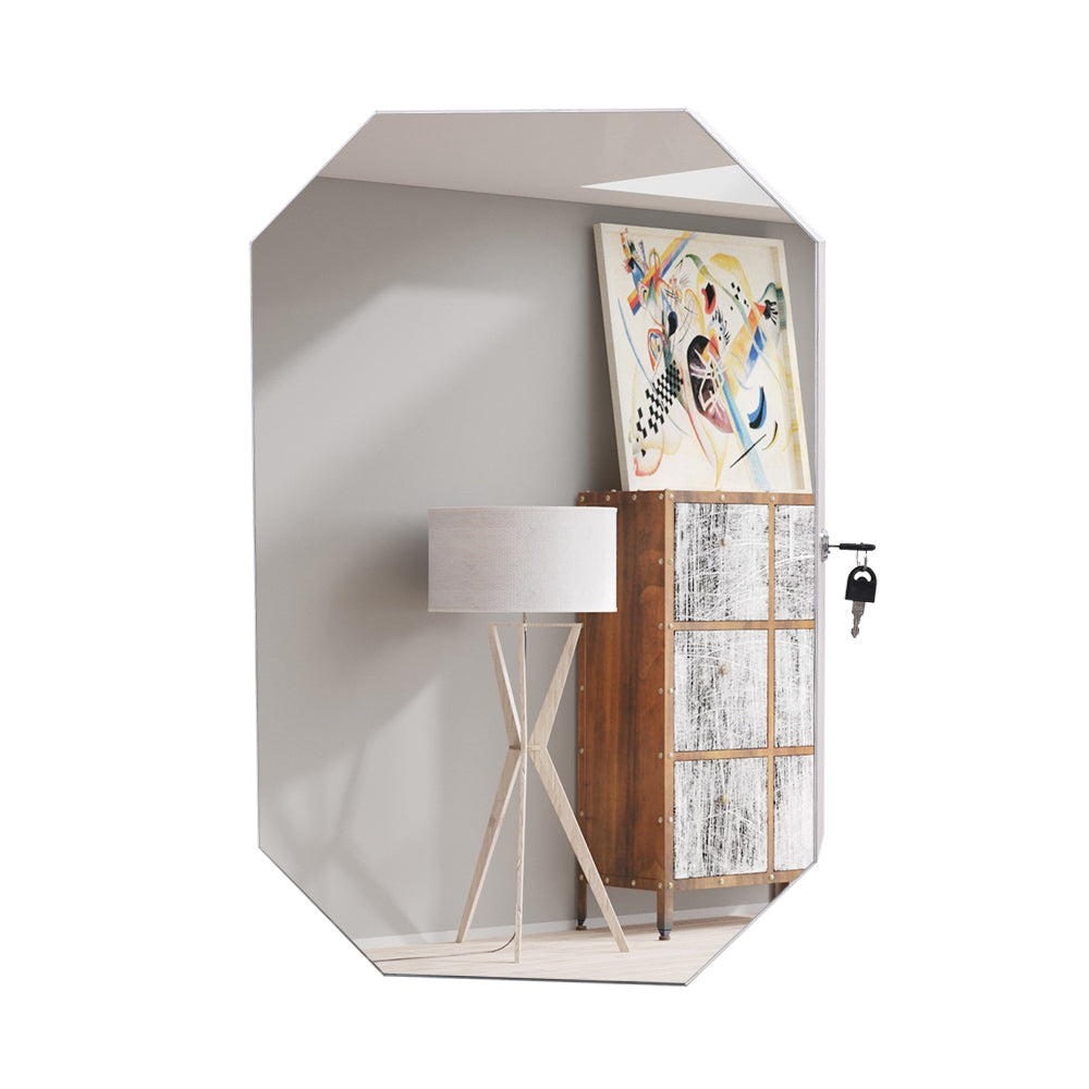 Simple Solid Wood Pattern Covered Wall-Mounted Display Cabinet Full Mirror Octagonal Jewelry Mirror Cabinet | 29901849