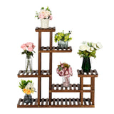 Artisasset 5 Floors 10 Seats Indoor And Outdoor Multifunctional Carbonized Wood Plant Stand | 98774005