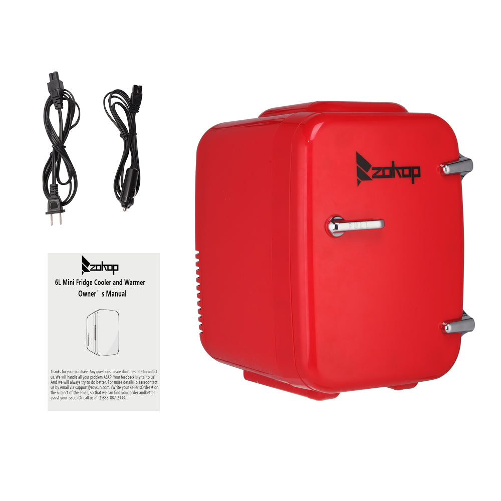 ZOKOP MFA-5L-B AC 120V / DC 12V 5L/0.175cuft Portable Small Refrigerator, Hot and Cold Box Red | 21913451