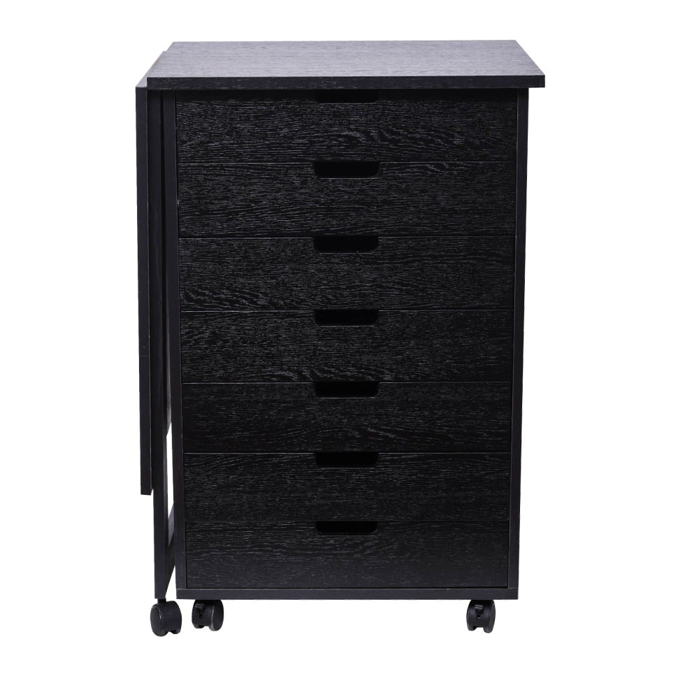 Wood Filing Cabinet, 7 Drawer Gate Leg Roll Cart with Desk Black Color | 36213497