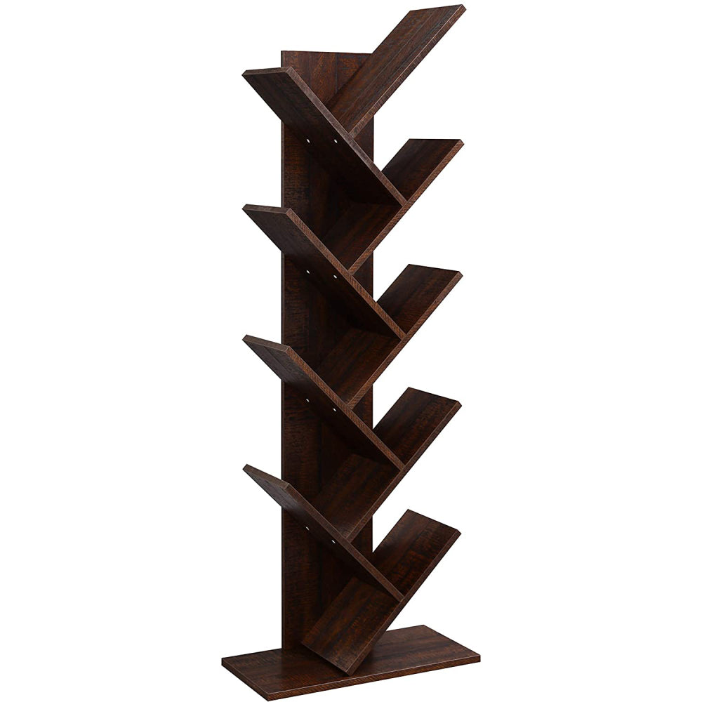 9-Shelf Bookcase Rack, Free Standing Book Storage Organizer,Wooden Tree Bookshelf,Storage for Books, Movies, Video Games, and CDs,Brown Color | 97004232